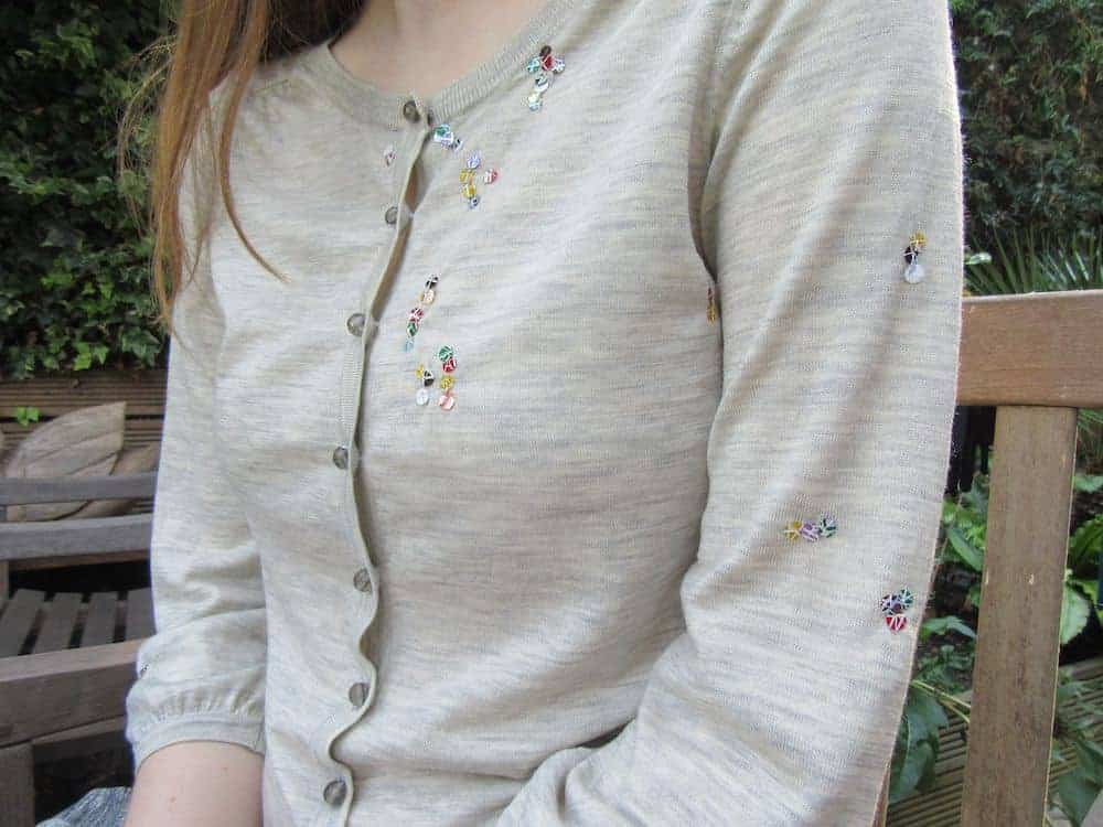 how to repair holes in knitwear with sequins
