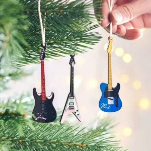 personalised guitar christmas decorations