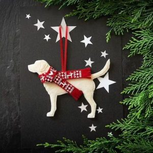 personalised handmade labrador dog christmas decoration for your tree or to send as a unique handmade christmas card to a dog lover in your life