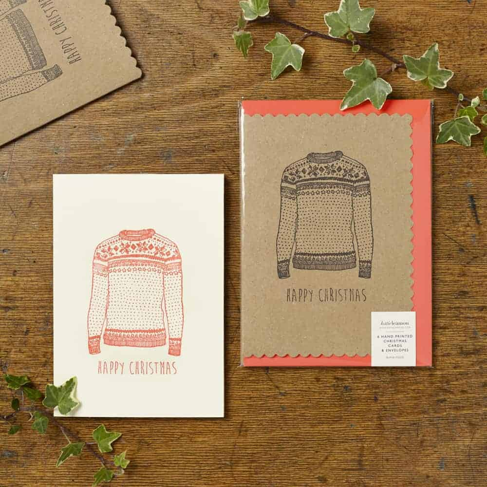 Christmas jumper kraft cards by Katie Leamon made in england