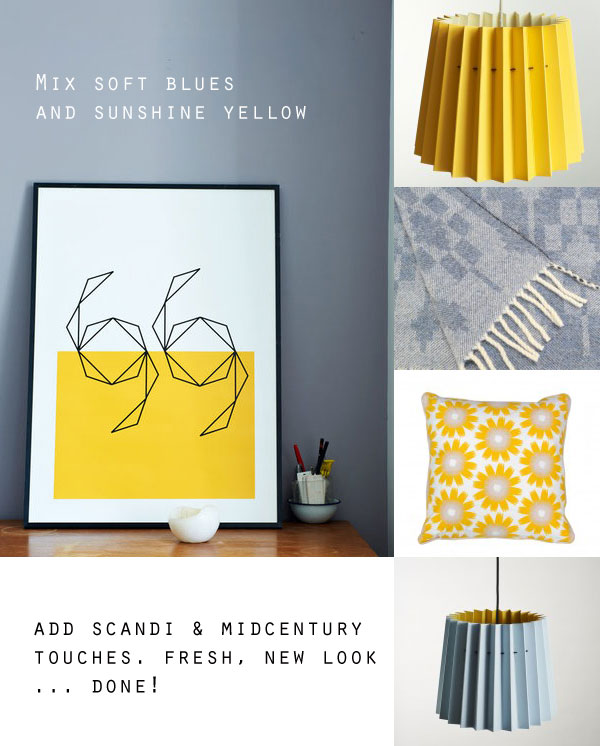 blue and yellow interiors