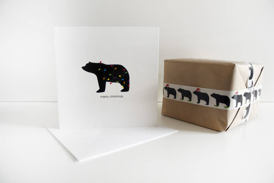 love this graphic black and white bear with fairy lights christmas card by heather alstead
