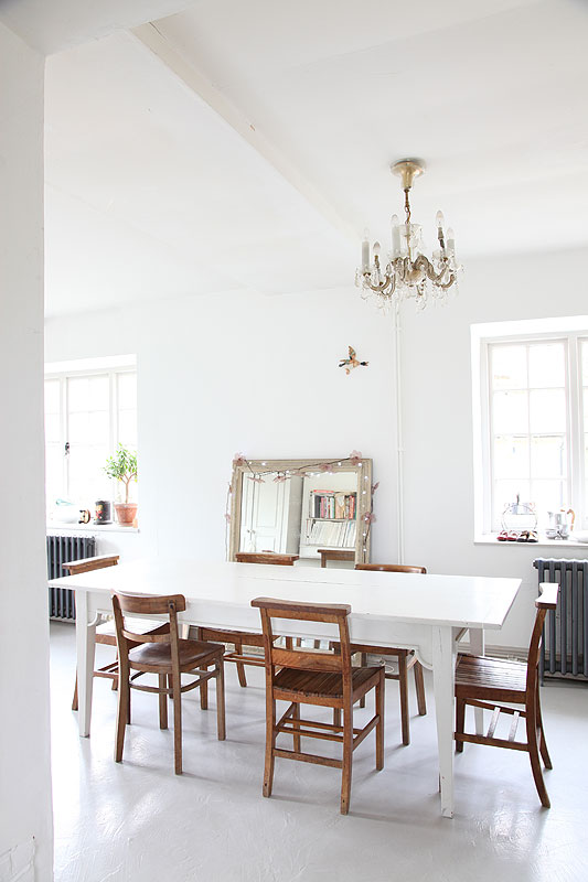White on White dining room