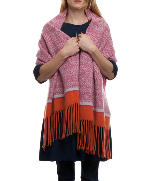 Pink and Orange Fairisle Wrap by Suzie Lee