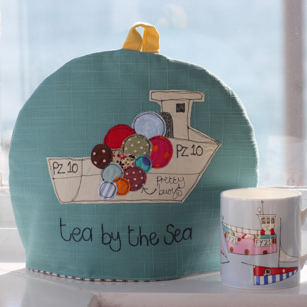 Tea by the Sea tea cosy by Cornish designer maker Poppy Treffry